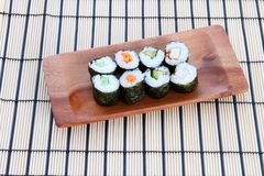 Sushi on placemat Royalty Free Stock Photo