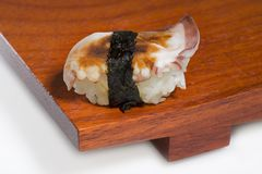 Sushi on plate. Sushi on wooden plate Royalty Free Stock Images