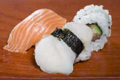 Sushi on plate. Sushi on wooden plate Stock Images