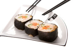 Sushi on a plate. Isolated on a white background stock photos