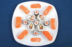 Sushi Plate. On a blue table cloth Stock Photo