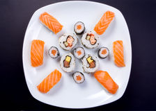 Sushi Plate. On a black background Stock Image