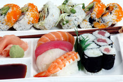 Sushi Plate 2. Close up of Sushi royalty free stock photos