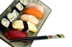 Sushi plate. On isolated background Stock Photo