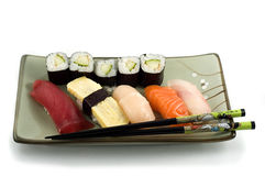 Sushi plate. Different varieties of fish Stock Photography