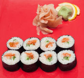 Sushi on a plate. Next to the ginger Royalty Free Stock Image