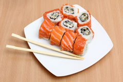 Sushi on plate Royalty Free Stock Images