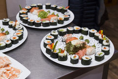 Sushi on a plate. A three sushi plate on table Stock Image