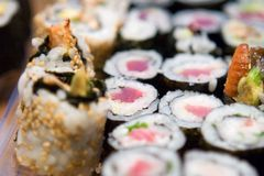Sushi on a plate. Close-up of  sushi on a plate Royalty Free Stock Photography