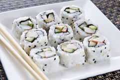Sushi. A plate of california rolls sushi Royalty Free Stock Photo