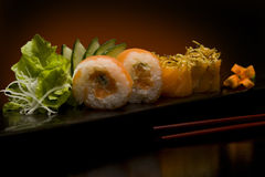 Sushi plate with chopsticks Royalty Free Stock Photography