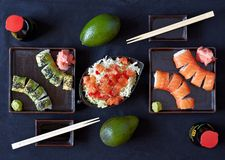 Sushi plate with chopsticks Stock Image