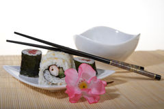 Sushi plate with chopsticks Royalty Free Stock Photo