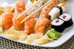 Sushi Plate - Close Up Royalty Free Stock Photography