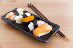 Sushi on the plate. Five sushi on the plate Royalty Free Stock Photos