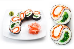 Sushi plate with ginger. And wasabi Stock Image