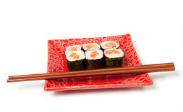 Sushi plate, isolated on white Royalty Free Stock Photos
