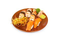Sushi plate isolated on the white background Royalty Free Stock Photography