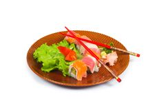 Sushi plate isolated on the white background. Sushi plate isolated on the  white background Stock Photos