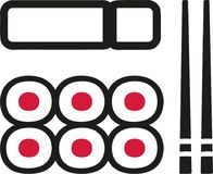 Sushi plate with maki chopsticks. Vector Royalty Free Stock Photo