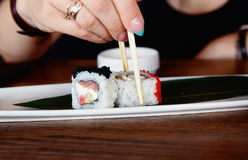 Sushi on a plate Royalty Free Stock Photography