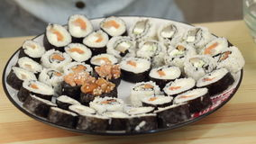 Sushi plate set stock video footage