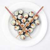Sushi on a plate in the shape of heart Stock Images