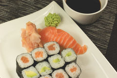 Sushi on a plate with soy sauce Royalty Free Stock Image