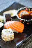 Sushi plate with soy sauce Royalty Free Stock Photography