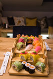 Sushi plate on table Stock Photos