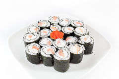 Sushi Plate, traditional japanese food on white background Stock Photography