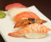 Sushi  on plate. Sushi  on a white plate Royalty Free Stock Photography