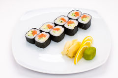 Sushi plate on white background. Sushi plate with sushi, white background, sushi set stock image