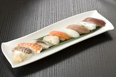 Sushi plates Stock Image