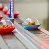 Sushi plates on rails in Japanese restaurant Royalty Free Stock Image
