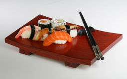 Sushi platter. On white background Royalty Free Stock Image