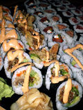 Sushi platter. Large plate of sushi rolls Royalty Free Stock Photo