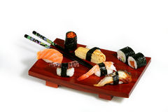 Sushi platter. On white background Royalty Free Stock Photos