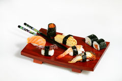 Sushi platter. On white background Stock Photo