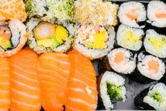 Sushi platter. Detail of Sushi platter on background Stock Photo
