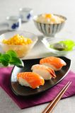 Sushi platter. Japanese Salmon Sushi roll platter Royalty Free Stock Photo