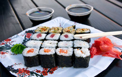 Sushi Platter. Sushi rolls on a tray with spices and soy sauce Stock Photos