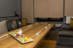 Sushi platter on table in restaurant Royalty Free Stock Photography