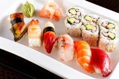 Sushi Platter. Variety of Sushi on a white platter Stock Image