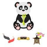Sushi, poissons de koi, lanterne japonaise, panda Les icônes réglées de collection du Japon dans le style de bande dessinée dirig Photos libres de droits