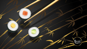 Sushi poster or flyer design temple, Vector clip art illustration. Sushi poster or flyer design temple, Vector clip art illustration royalty free illustration