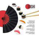 Sushi Poster With Folding Fan Royalty Free Stock Photography