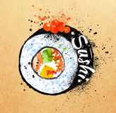 Sushi poster watercolor. Hand drawn with stains Royalty Free Stock Photo