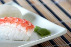 Sushi with prawn detail Stock Photo
