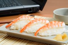Sushi prawn platter Stock Photography